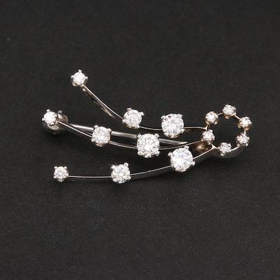 14K White Gold Diamond Brooch