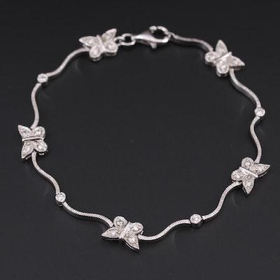 Sterling Silver Cubic Zirconia Butterfly Bracelet