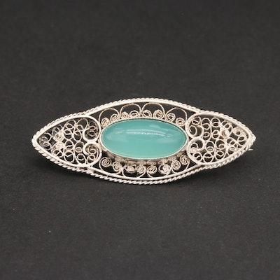 Sterling Silver Glass Brooch