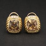 18K Yellow Gold Citrine and Diamond Earrings