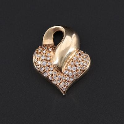 14K Yellow Gold Diamond Heart Slide Pendant