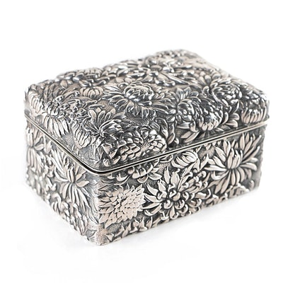 Antique Japanese Sterling Silver and Ebony Repoussé Blooming Chrysanthemum Box