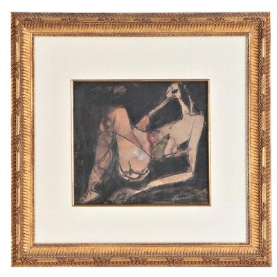 "Jens Jensen Figural Gouache Painting ""Distressed Kneeling"""