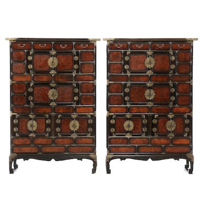 Pair of Korean Brass-Mounted Oak and Burlwood Tansus, 20th Century