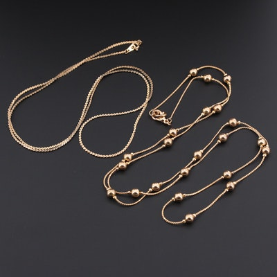 Serpentine Gold Tone Chains Including Station Bead Necklace