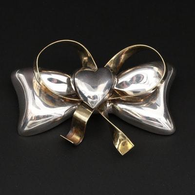 Mexican Sterling Silver Bow Converter Brooch