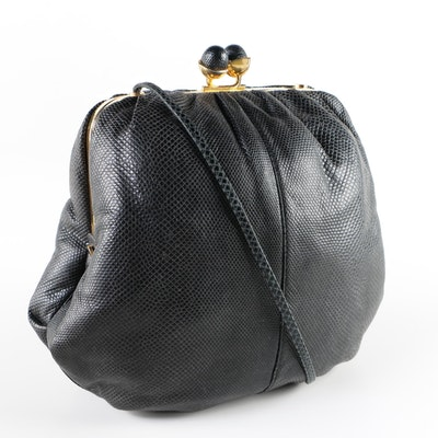 Judith Leiber Black Karung Skin Shoulder Bag with Kiss Lock Clasp, 1970s Vintage