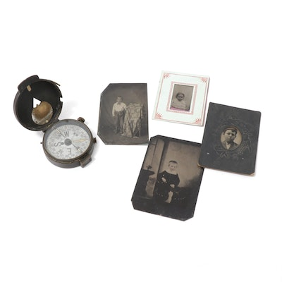 Ferrotypes Portraits and Swiss-Made Compass, Antique