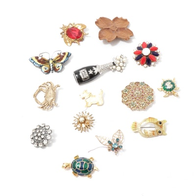 David Anderson Sterling Silver Brooch and Costume Jewelry Brooches