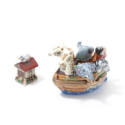 Limoges La Gloriette Porcelain Noahs Ark Trinket Box