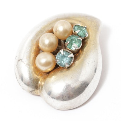Adele Simpson Sterling Silver Imitation Gemstone Brooch, Vintage