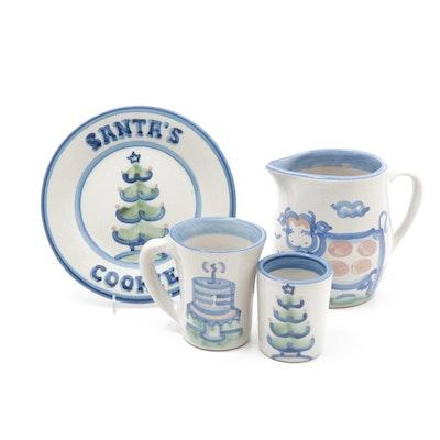 M.A. Hadley Blue Pottery Assortment