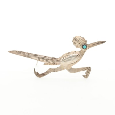 Sterling Silver Turquoise Roadrunner Brooch