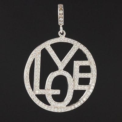 "Sterling Silver Cubic Zirconia ""LOVE"" Pendant"
