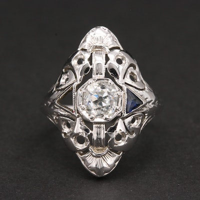 Art Deco 18K White Gold Diamond and Blue Sapphire Ring