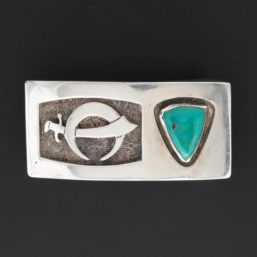 Southwestern Style Sterling Turquoise Shriner Emblem Belt Buckle