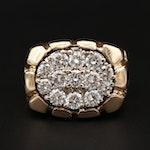 14K Yellow Gold 1.47 CTW Diamond Ring With Cobblestone Motif