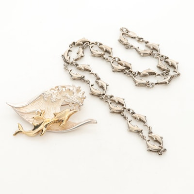 Sterling Silver Dolphin Brooch and Necklace