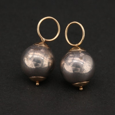 14K Yellow Gold and Sterling Silver Pendants / Earring Enhancers