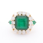 14K Yellow Gold 5.91 CT Emerald and 3.49 CTW Diamond Ring