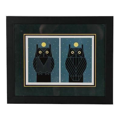 "Charley Harper Offset Lithograph ""Omniscient Owl"""