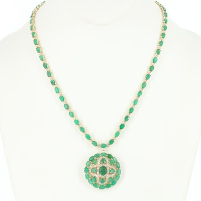 14K Yellow Gold Emerald and 2.14 CTW Diamond Necklace