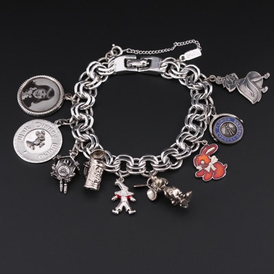 Charm Bracelet with Disney Themed and Sterling Silver Charms