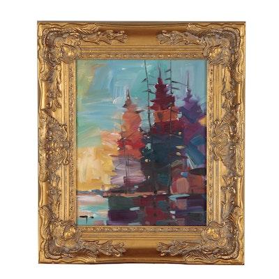 """Jose Trujillo Oil Painting """"Lake Sunrise"""""""