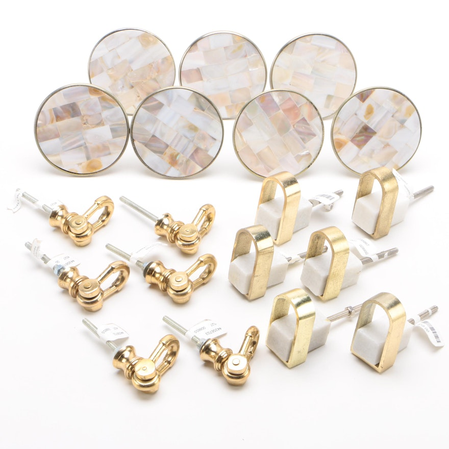 Giles & Brother and Anthropologie Brass, Marble, and Mother-of-Pearl Inlay Pulls