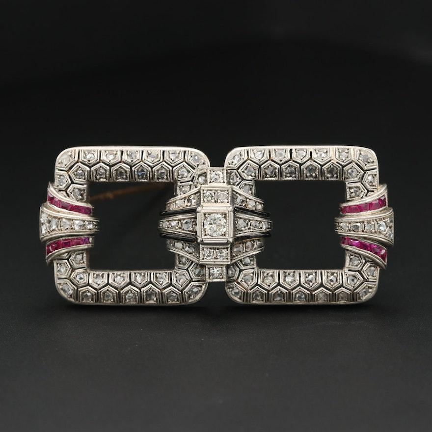 Victorian 14K 1.02 CTW Diamond, Synthetic Ruby and Black Enamel Brooch