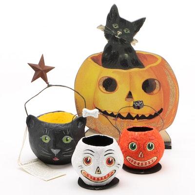 Rosselot Folkart Papier-mâché Halloween Basket and Other Halloween Decor