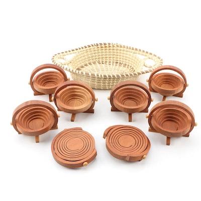 Kathleen Strapp Cherry Miniature Baskets with Hand-Woven Grass Basket