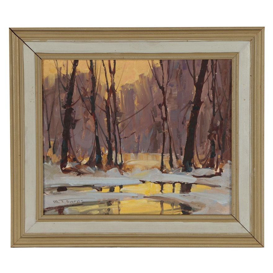Walter Thomas Sacks Winter Landscape Oil Painting