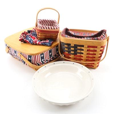 Longaberger Baskets with Longaberger Pottery Pie Plate, 1990s