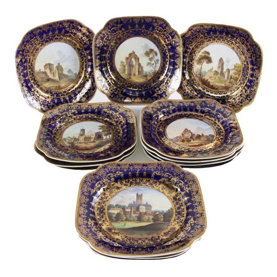 Set of Fourteen Spode Porcelain View Plates, Circa 1820