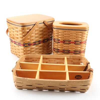 Peterboro and Bradford Woven Baskets Including Picnic Basket