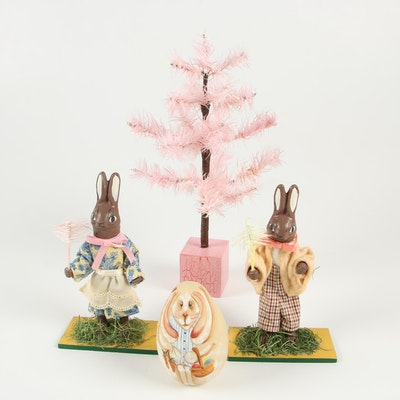 Handcrafted Bunny Figurines and Feather Tree and a Hand-Painted Gourd