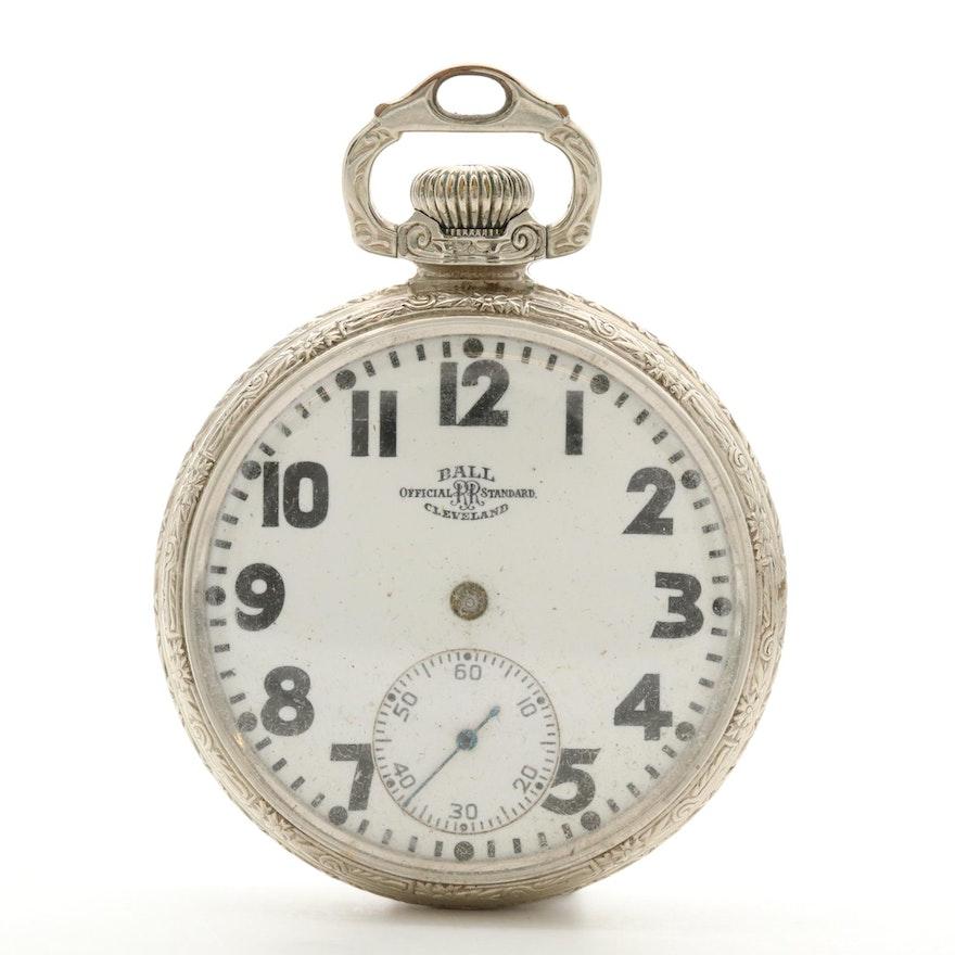 Vintage Ball Cleveland Official Standard Railroad Grade Gold Filled Pocket Watch Ebth