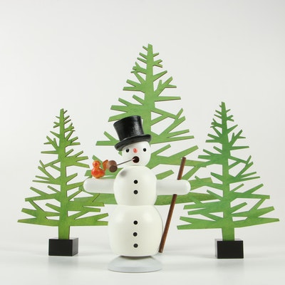 Wood Cutout Pine Tree Décor and Handcrafted German Snowman Figurine