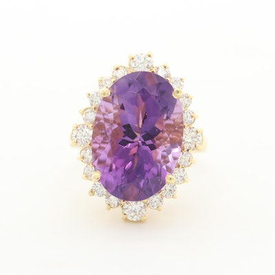 18K Yellow Gold 11.82 CT Amethyst and 1.16 CTW Diamond Ring