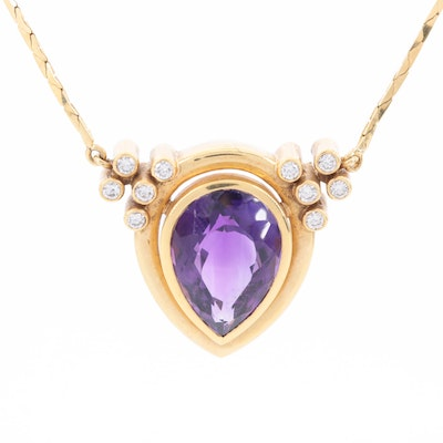 18K Yellow Gold Amethyst and Diamond Necklace