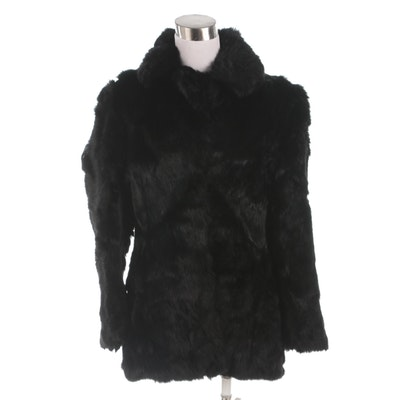 Women's Dyed Black Rabbit Fur Coat