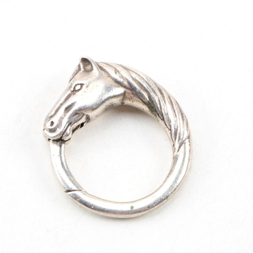 Italian Sterling Silver Equestrian Key Ring