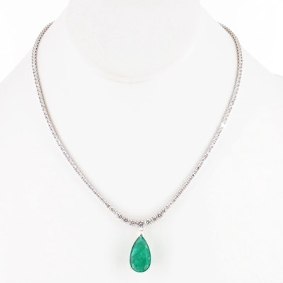 14K White Gold 5.36 CT Emerald and 3.44 CTW Diamond Necklace