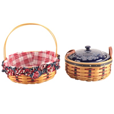 Longaberger Handled Baskets with Blue Dutch Oven