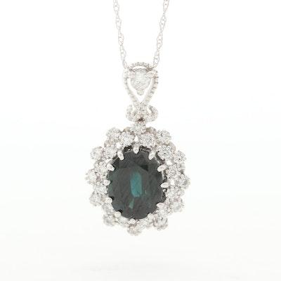 14K White Gold Sapphire and Diamond Pendant Necklace