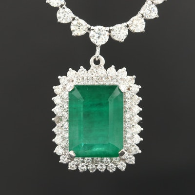 14K White Gold 12.72 CT Emerald and 10.33 CTW Diamond Necklace with GIA Report