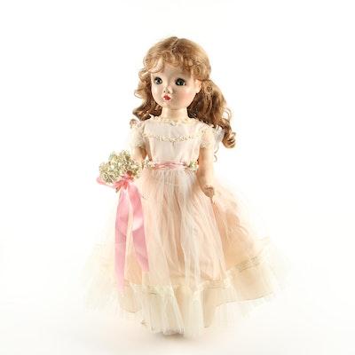 "25"" Madame Alexander ""Winnie Walker"" Doll with Bridesmaid Dress, 1950s"