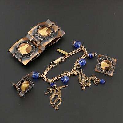 Jan Michaels Dragon Bracelet with Wolf Motif Bracelet and Earrings Set