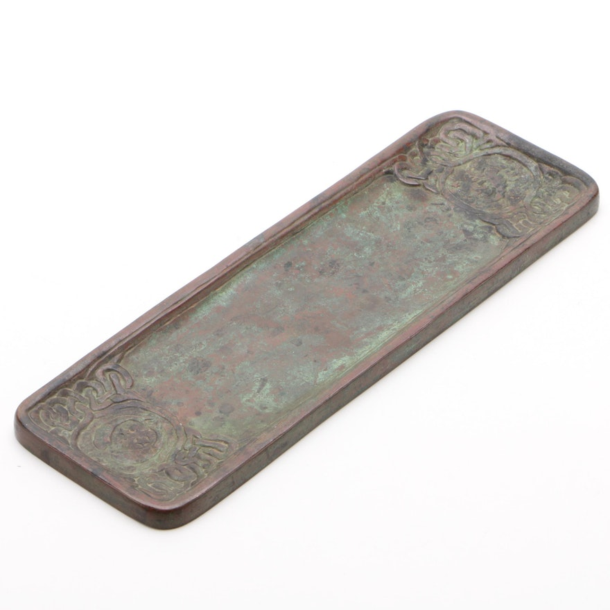 Tiffany Studios Art Nouveau Style Bronze Pen Tray, Circa 1920s